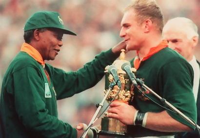 Nelson Mandela na final do mundial de r√¢guebi